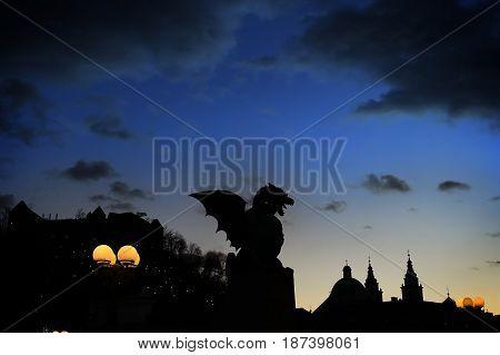 A dragon statue in Ljublijana, capital of Slovenia.