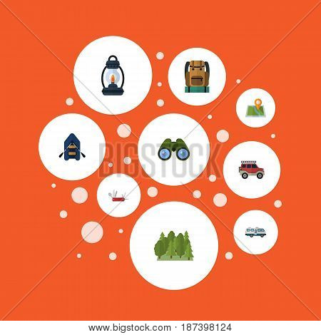 Flat Suv, Kerosene, Wood And Other Vector Elements. Set Of Encampment Flat Symbols Also Includes Pin, Forest, Kerosene Objects.