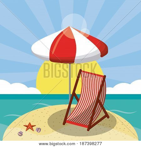 summer beach design in the seashore with beach umbrella and chair. summer background for holidays vector illustration