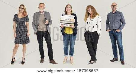 Group of Diversity Adult People Together Set Studio Isolated