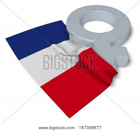 symbol for feminine and flag of france - 3d rendering