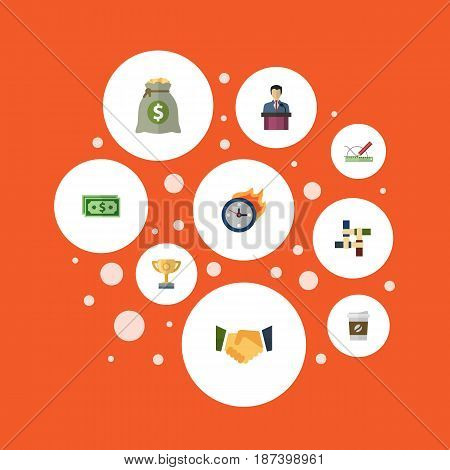 Flat Businessman, Income, Break And Other Vector Elements. Set Of Projects Flat Symbols Also Includes Limit, Partnership, Motivation Objects.
