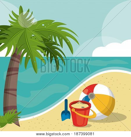 seaside view on beautiful sunny beach with palm, beach ball, bucket, shovel. summer vacation concept vector illustration