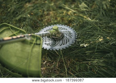 Gasoline Trimmer Head On Green Grass. Round Trimmer Blade.