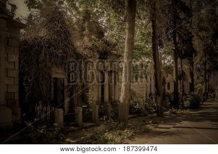 Abandoned Crypt At The Cemetery