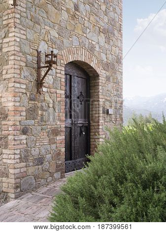 view of  old vintage  wooden  castle  doors and bricks wall