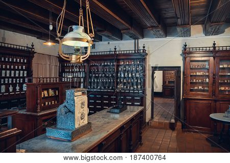 Kaunas, Lithuania - May 12, 2017: Interior Of Old Pharmacy: Shelfs With Drugs, Apothecary Scale And