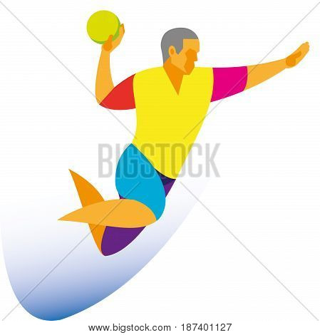 The athlete is a handball player who attacks the opponent's gate