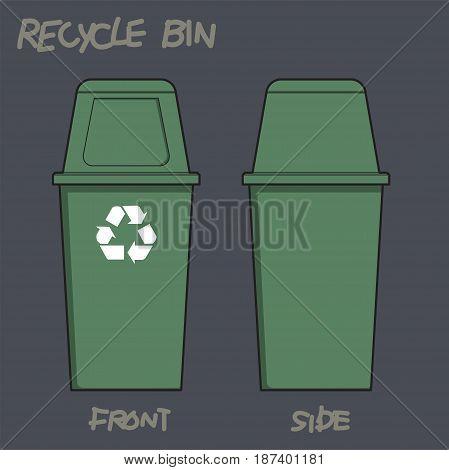 Vector illustration of Green Recycle plastic Bin