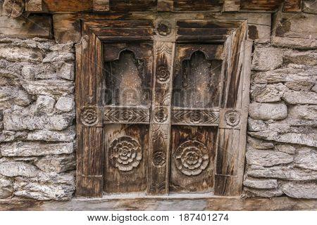 Wooden old vintage window background in Nepalese village