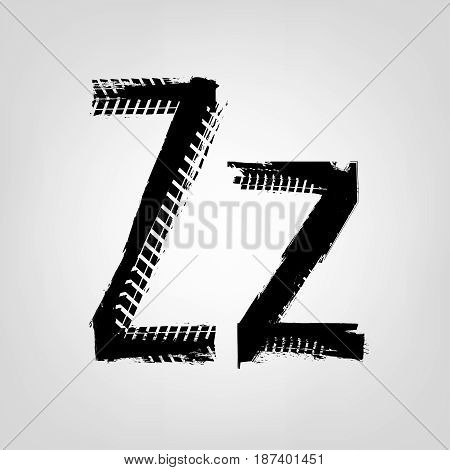Grunge tire letter Z. Unique off road isolated lettering in a black colour. Vector illustration.