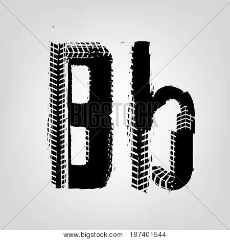 Grunge tire letter B. Unique off road isolated lettering in a black colour. Vector illustration.