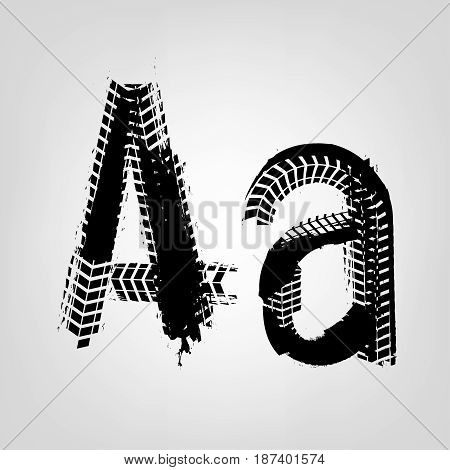 Grunge tire letter A. Unique off road isolated lettering in a black colour. Vector illustration.