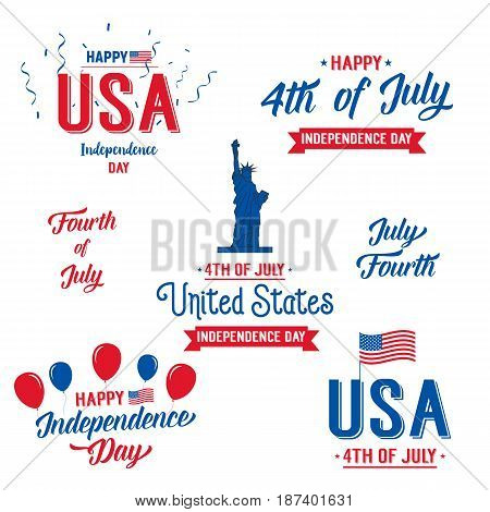 Fourth of July, USA Independence Day.Set of Independence Day typographic logo