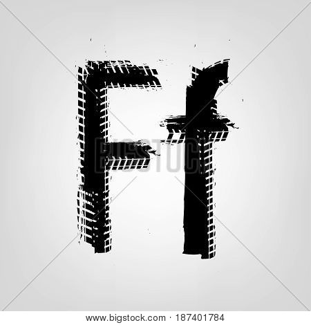 Grunge tire letter F. Unique off road isolated lettering in a black colour. Vector illustration.