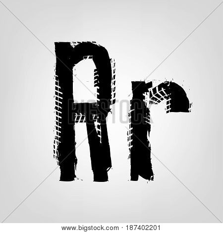 Grunge tire letter R. Unique off road isolated lettering in a black colour. Vector illustration.