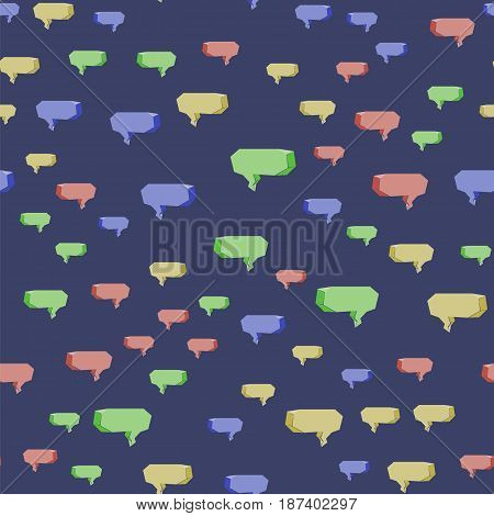 Colorful Speech Bubbles Seamless Pattern on Blue Background