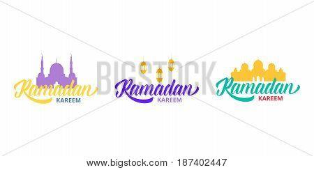 Ramadan Kareem. Typographic logo in set. Design layout for Islamic holidays