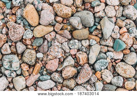 Background Texture Of Round Granite Beach Stones.