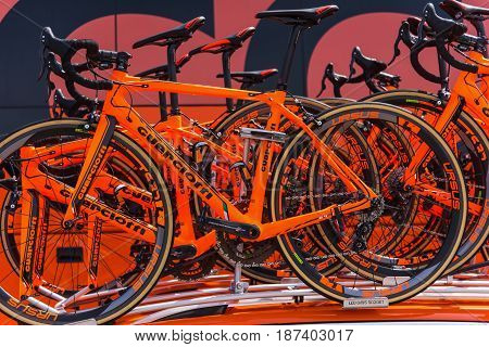 Alghero Italy - May 05 2017: CCC Sprandi Polkowice bikes on 100th Giro d'Italia opening day