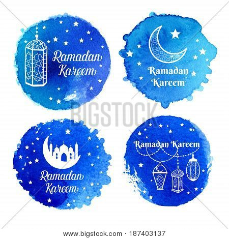 Ramadan Kareem Greeting Card, Banner, Poster, Logo With Lantern, Crescent, Moon And Star Elements. V