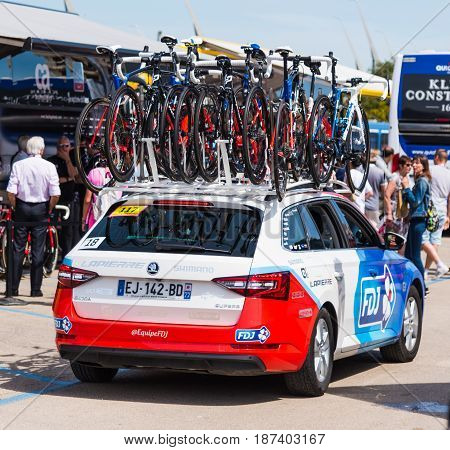 Alghero Italy - May 05 2017: FDJ team car on 100th Giro d'Italia opening day