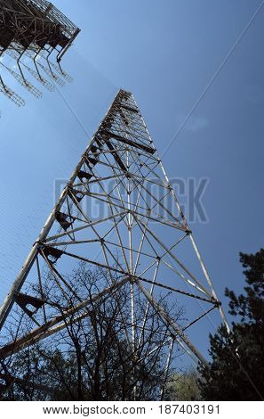 Chernobyl-2.Duga radar. Russian woodpecker. Legacy of ex Soviet cold war times. Chernobyl exclusion zone. Zone of radioactivity.Kiev region.Ukraine