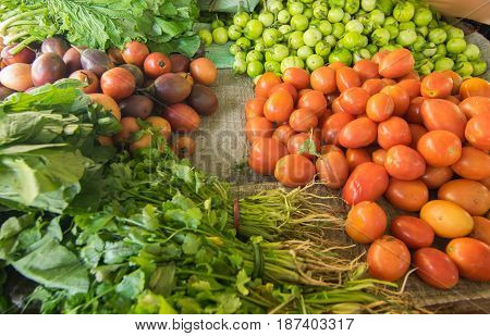 Fresh green vegetables agricultural products of Sikkim India