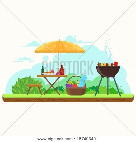BBQ picnic in the garden with food and drinks. Picnic outdoors illustration