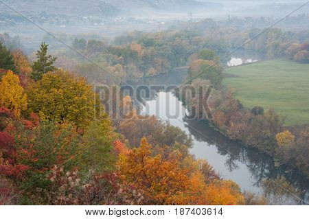 Autumn Landscape With River And Fog