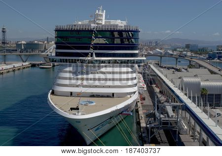 Front of Norwegian Epic Norwegian Cruise Line - Barcelona Cruise Port Spain - 07 May 2017: Cruise ship is ready to leave for a 7 night Mediterranean journey from Barcelona.