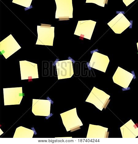 Yellow Note Paper Seamless Pattern on Black Background