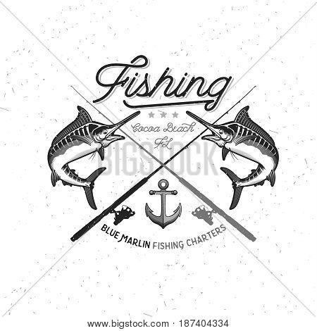 Set of Marlin Fishing Emblem, Badge and Design Elements