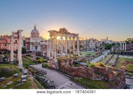 Scenic View Of Roman Forum At Sunrise, Rome
