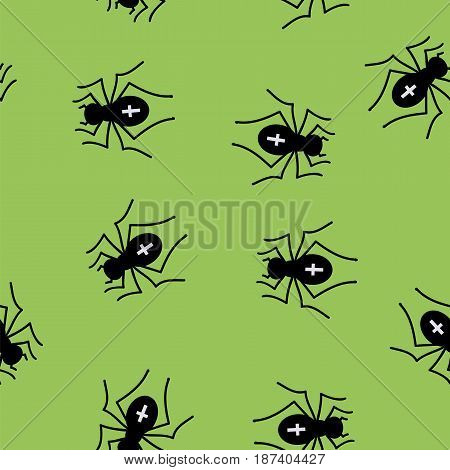 Poisonous Spider Seamless Pattern on Green Background