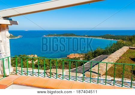 Terrace by the sea in Capo Coda Cavallo Sardinia