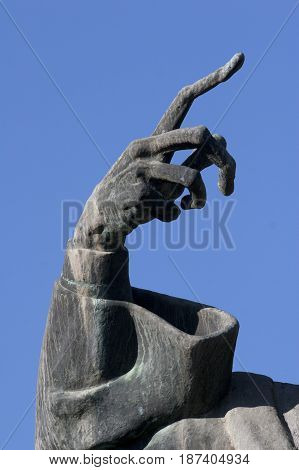 Hand from statue of Gregory of Nin wich is located in front of Golden gate of Diocletian palace in Split town in Croatia