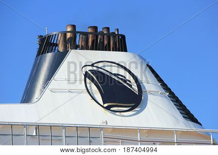 Velsen the Netherlands - May 20th 2017: MS Prinsendam detail of funnel