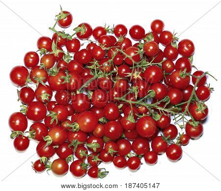 Few red cherry tomatoes isolated on white background