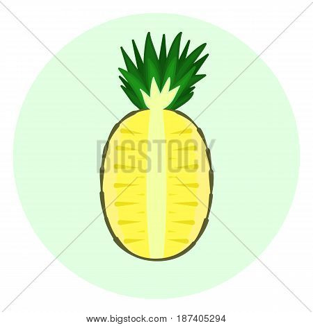 Half yellow pineapple vector icon pineapple split in a half cut fruit