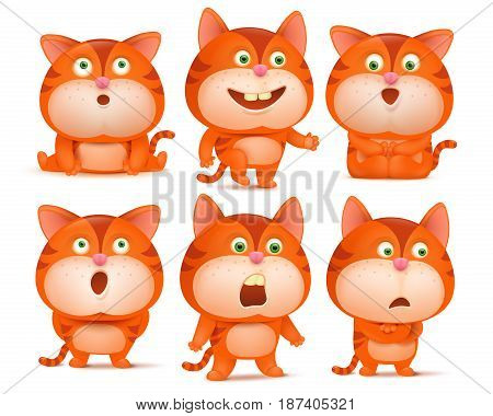 Set of cute orange cat cartoon characters in various poses. Vector illustration