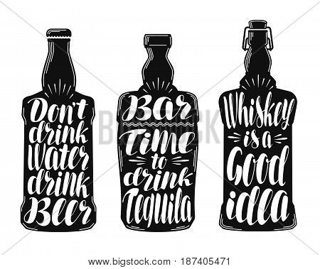 Alcohol drink, beverage label set. Collection decorative elements for menu restaurant or pub, bar. Lettering, calligraphy vector illustration isolated on white background