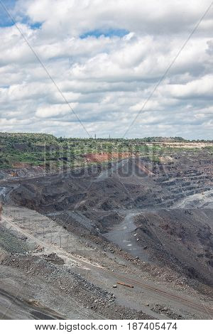 View to the iron ore mining with industrial landscape