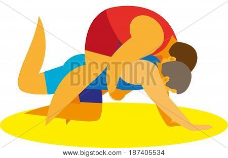 A two young strong athletes is a greek roman wrestle begin their duel in takedowns