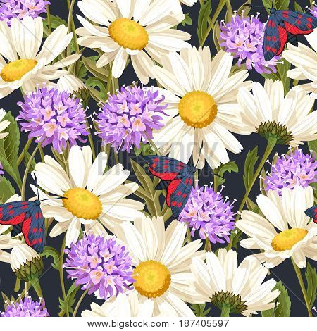 High detailed meadow flowers vector seamless background
