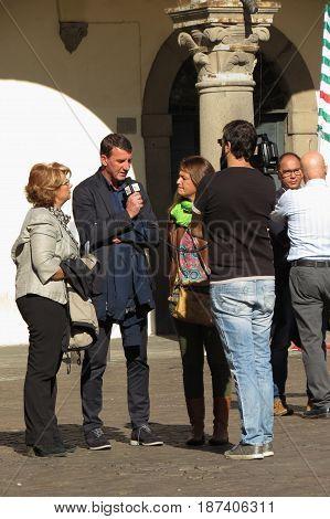 VITERBO ITALY - CIRCA OCTOBER 2015: CGIL trade union protest on main square