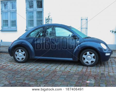 Blue Bmw New Beetle Car In Luebeck