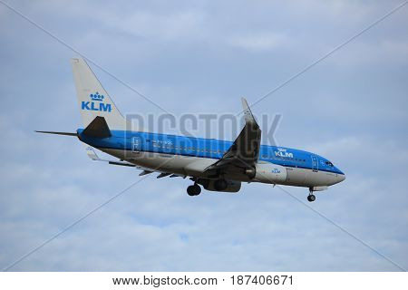 Amsterdam the Netherlands - July 15th 2016: PH-BGG KLM Royal Dutch Airlines Boeing 737 approaching Polderbaan runway at Schiphol Amsterdam Airport arriving from London Valencia Spain