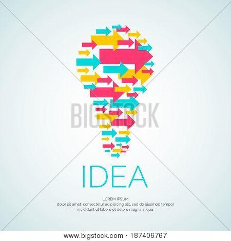 Idea. conceptual vector illustration. The light bulb of the arrows