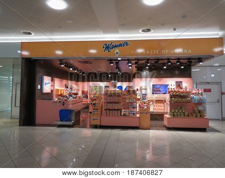 VIENNA AUSTRIA - CIRCA APRIL 2017: Manner brand store in Vienna